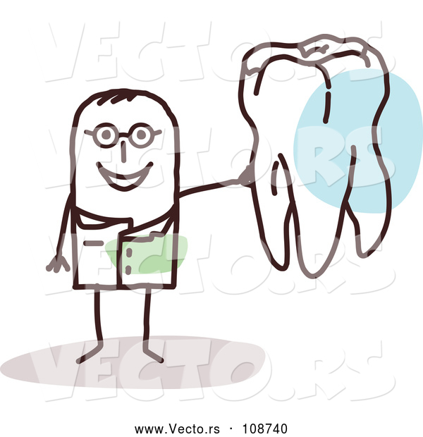 Vector of Male Stick Dentist Holding a Tooth