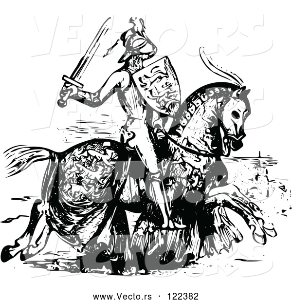 Vector of Medieval Knight on Horseback - Black and White