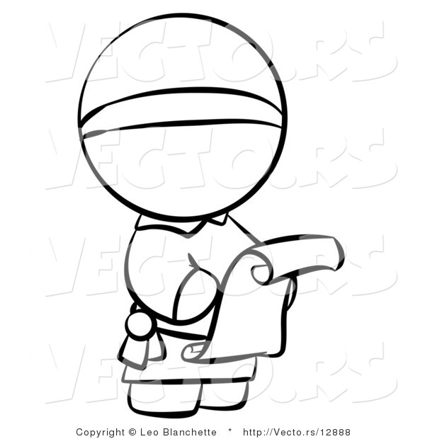 vector of monk reading a scroll letter coloring page outlined art