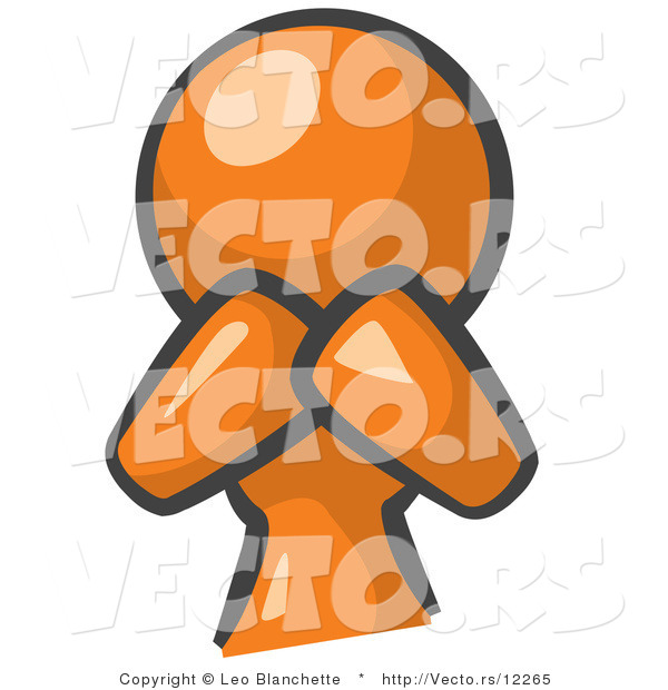 Vector of Orange Girl Covering Her Mouth and Acting Surprised