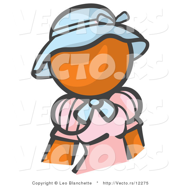 Vector of Orange Girl in a Pink Dress and Blue Hat