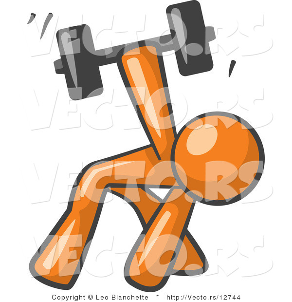 Vector of Orange Guy Bent over and Working out with a Dumbbell