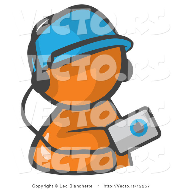 Vector of Orange Guy Holding an Mp3 Player