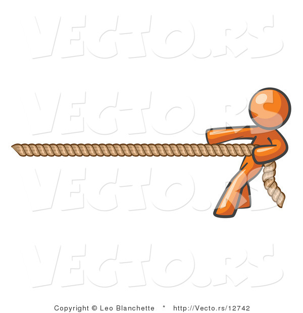 Vector of Orange Guy Tugging on a Rope