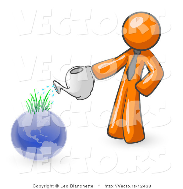 Vector of Orange Guy Using a Watering Can to Water New Grass Growing on Planet Earth, Symbolizing Someone Caring for the Environment