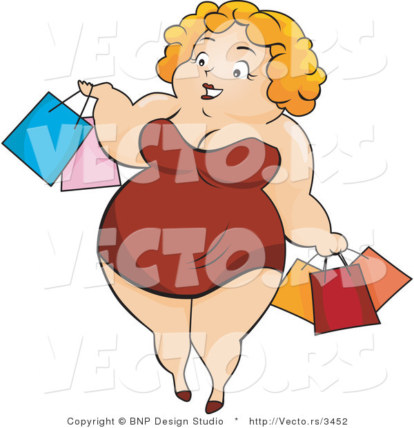 Vector of Overweight Girl Carrying Shopping Bags