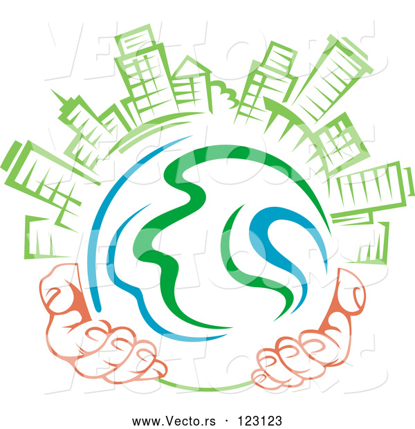 Vector of Pair of Hands Holding a Globe with Green Skyscrapers on Top 1