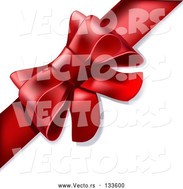 Vector of Present Wrapped with a Red Bow and Ribbon