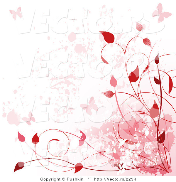Vector of Red Vines, Butterflies Background Border Design by Pushkin ...
