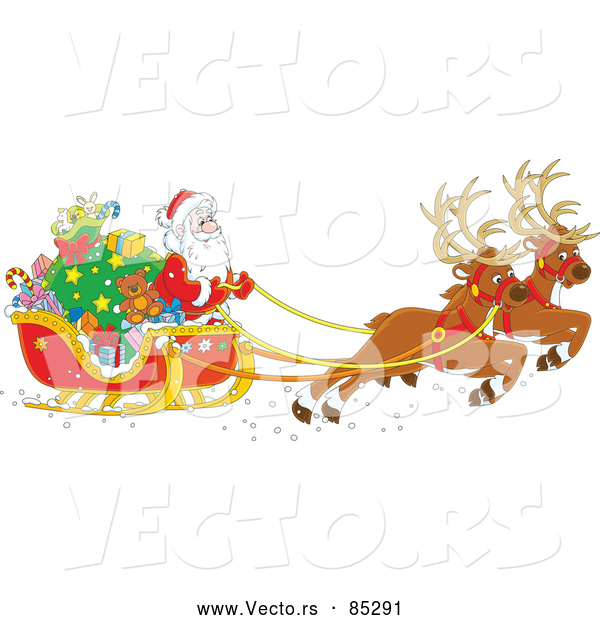 Vector of Reindeer Pulling Santa and Sleigh Filled with Gifts