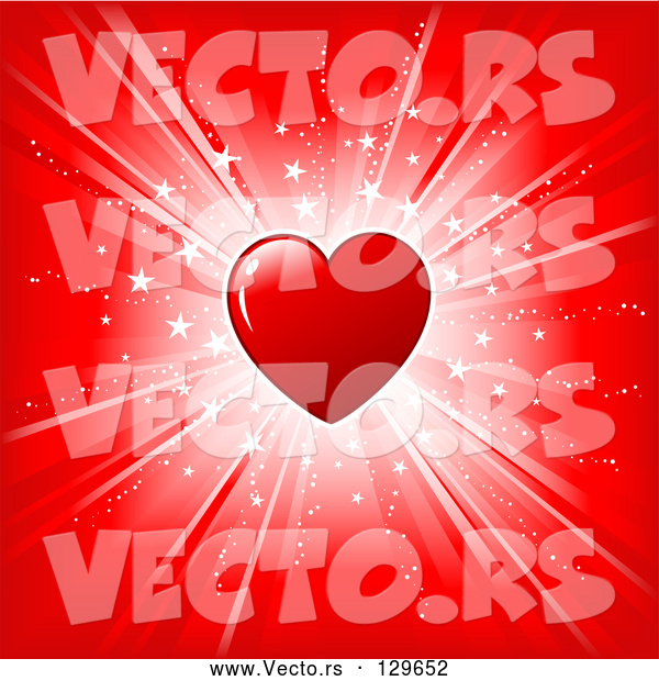 Vector of Shiny Red Heart over a Red Background with a Bright White Burst of Light and Stars