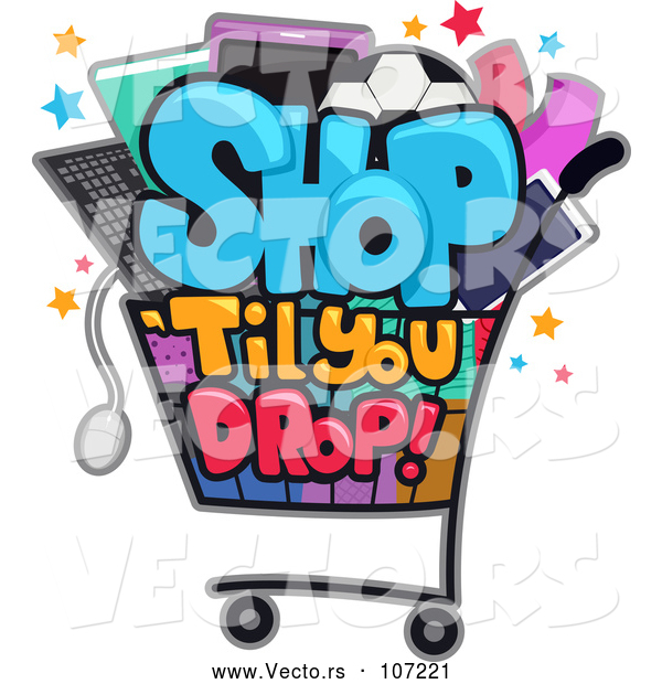 Vector of Shop till You Drop Design with a Cart Full of Items
