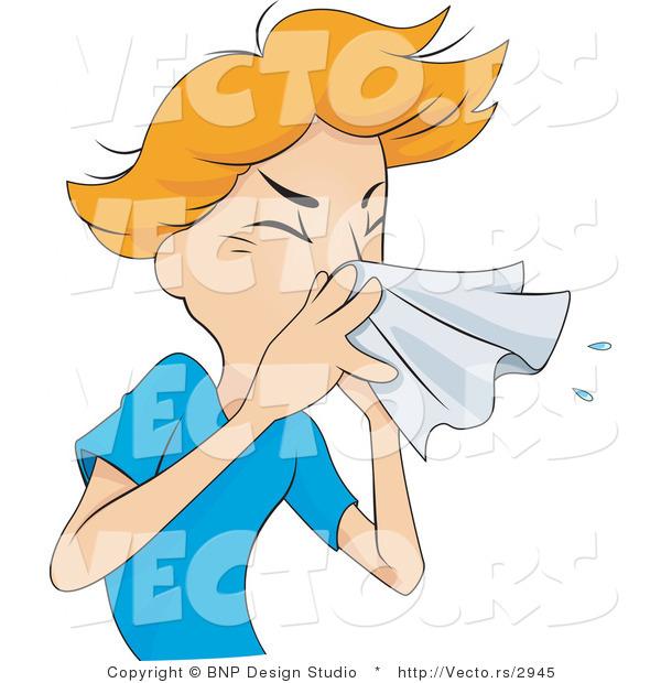 Vector of Sick Boy Sneezing into a Tissue by BNP Design Studio - #2945