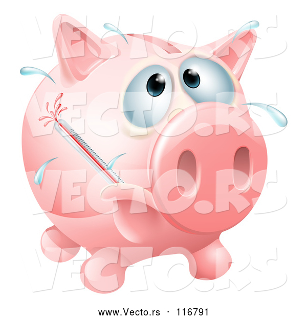 Vector of Sick Piggy Bank with a Fever and Bursting Thermometer