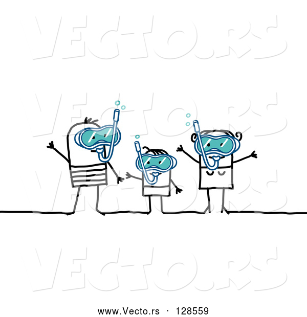 Vector of Stick People Character Family Snorkeling
