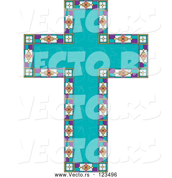 Vector of Turquoise Peace Dove Patterned Easter Cross Bordered with Stained Glass