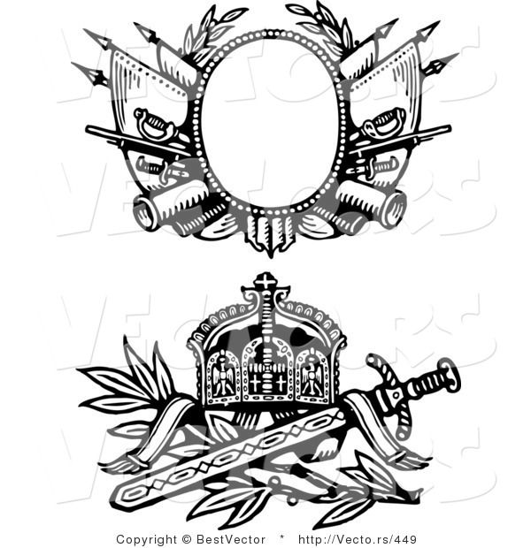 Vector of Two Knight Swords and Shields - Black and White by ...