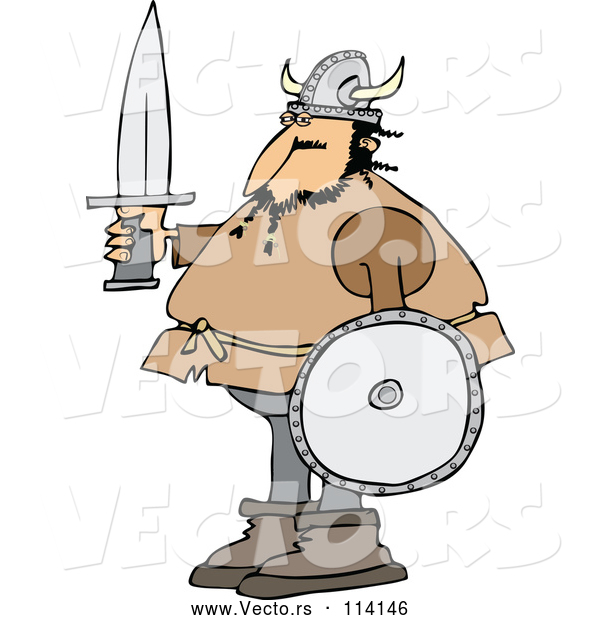 Vector of Viking Guy Holding a Sword and Shield