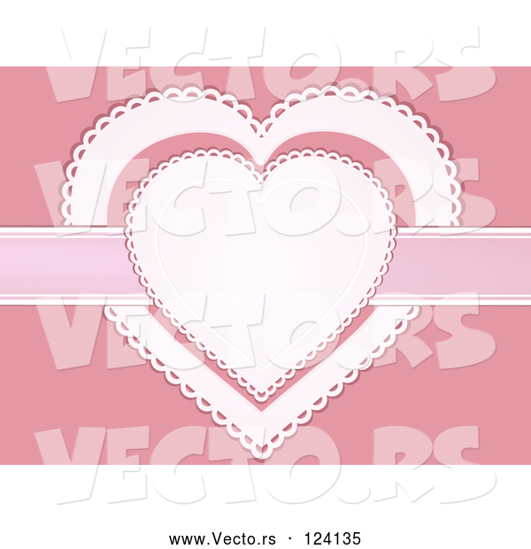 Vector of White and Pink Doily Hearts with a Ribbon