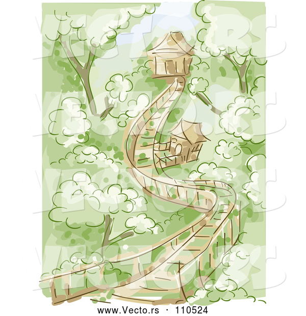 Vector of Wooden Bridge Leading to Tree Houses