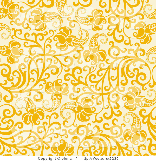 Vector Of Yellow Flowers With Vines Over Beige Seamless