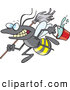 Cartoon of a Vector Busy Janitorial Bee with a Mop and Bucket by Toonaday