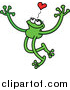 Cartoon Vector of a Green Grinning Love Frog with Long Arms and Legs by Zooco