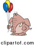 Cartoon Vector of a Grumpy Elephant Holding Balloons by Toonaday