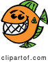 Cartoon Vector of a Happy Fish with a Big Teeth - Orange and Green Theme by Zooco