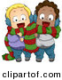 Cartoon Vector of a Happy Toddlers Sharing a Scarf for Christmas by BNP Design Studio