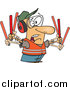 Cartoon Vector of a Stressed Male Traffic Controller Waving Wands by Toonaday