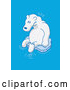 Cartoon Vector of a Worried Polar Bear Floating on Tiny Piece of Ice in the Ocean by Zooco