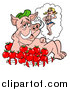 Cartoon Vector of an Apple BBQ Pig Fantasizing About a Sexy Female Pig by LaffToon