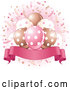 Cartoon Vector of Banner Under Party Balloons and Confetti with Pink by Pushkin