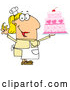 Cartoon Vector of Caucasian Cake Baker Woman by Hit Toon