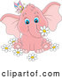 Cartoon Vector of Cute Pink Elephant with a Butterfly and Flowers by Alex Bannykh