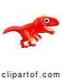 Cartoon Vector of Cute Red Tyrannosaurus Rex Dinosaur by AtStockIllustration