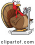 Cartoon Vector of Fat Turkey Bird Looking Shocked at Its Weight on a Scale by Toons4Biz