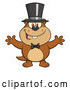 Cartoon Vector of Groundhog Wearing a Hat and Welcoming by Hit Toon