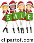 Cartoon Vector of Happy Christmas Girls Wearing Santa Suits While Holding Sale Shopping Bags by BNP Design Studio