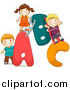 Cartoon Vector of Kids Playing on an a B C Alphabet Letters by BNP Design Studio