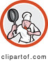 Cartoon Vector of Male Chef in a Kung Fu Fighting Stance Inside a Circle by Patrimonio