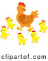 Cartoon Vector of Mother Hen and Baby Chicks by Alex Bannykh