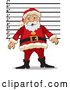Cartoon Vector of Santa Getting Mugshot at Jail for Trespassing by David Rey