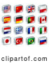 Vector of 3d Square Flag Icons with Chrome Edges by AtStockIllustration
