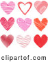 Vector of 9 Scribble Hearts in Pink and Red - Digital Collage by KJ Pargeter