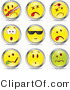 Vector of 9 Unique Smileys by Beboy