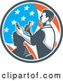 Vector of a Barber Man Cutting a Client's Hair with Clippers in an American Flag Circle by Patrimonio