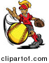 Vector of a Blond Caucasian Tomboy Girl Pitching a Softball by Chromaco