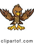 Vector of a Brown Cartoon Eagle Mascot Holding up Its Wings by Chromaco